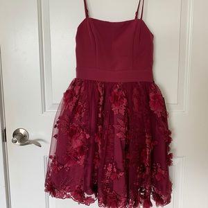 Burgundy flowered homecoming dress
